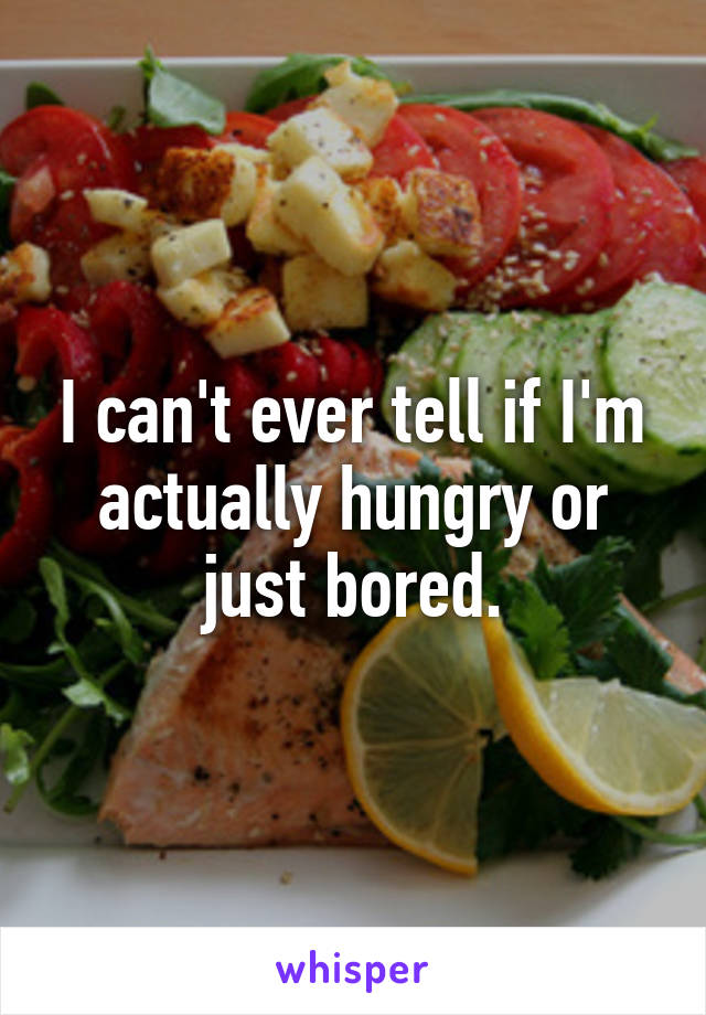 I can't ever tell if I'm actually hungry or just bored.