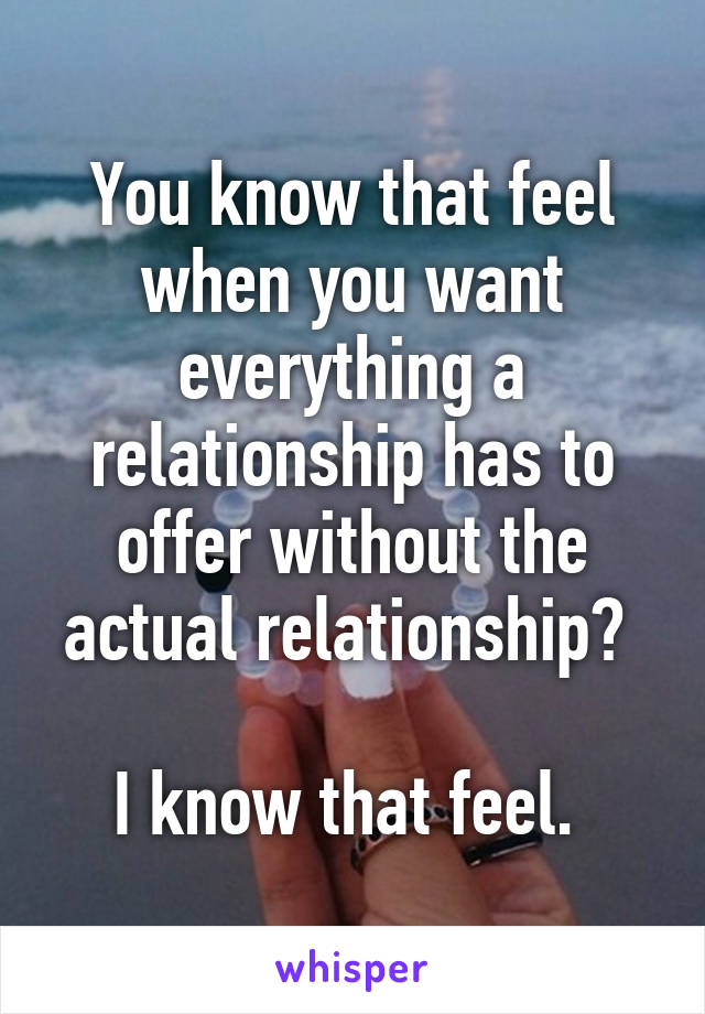 You know that feel when you want everything a relationship has to offer without the actual relationship?   I know that feel.