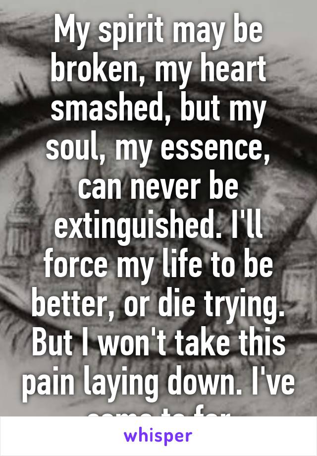 My spirit may be broken, my heart smashed, but my soul, my essence, can never be extinguished. I'll force my life to be better, or die trying. But I won't take this pain laying down. I've come to far