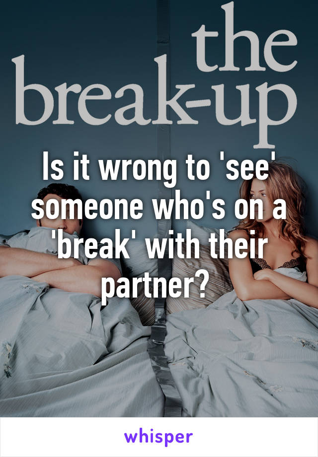 Is it wrong to 'see' someone who's on a 'break' with their partner?