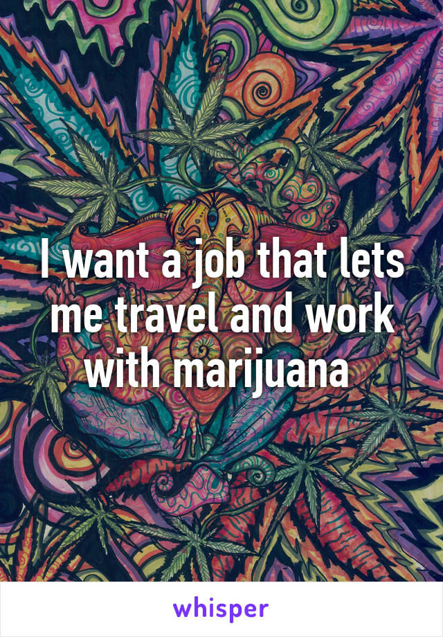 I want a job that lets me travel and work with marijuana