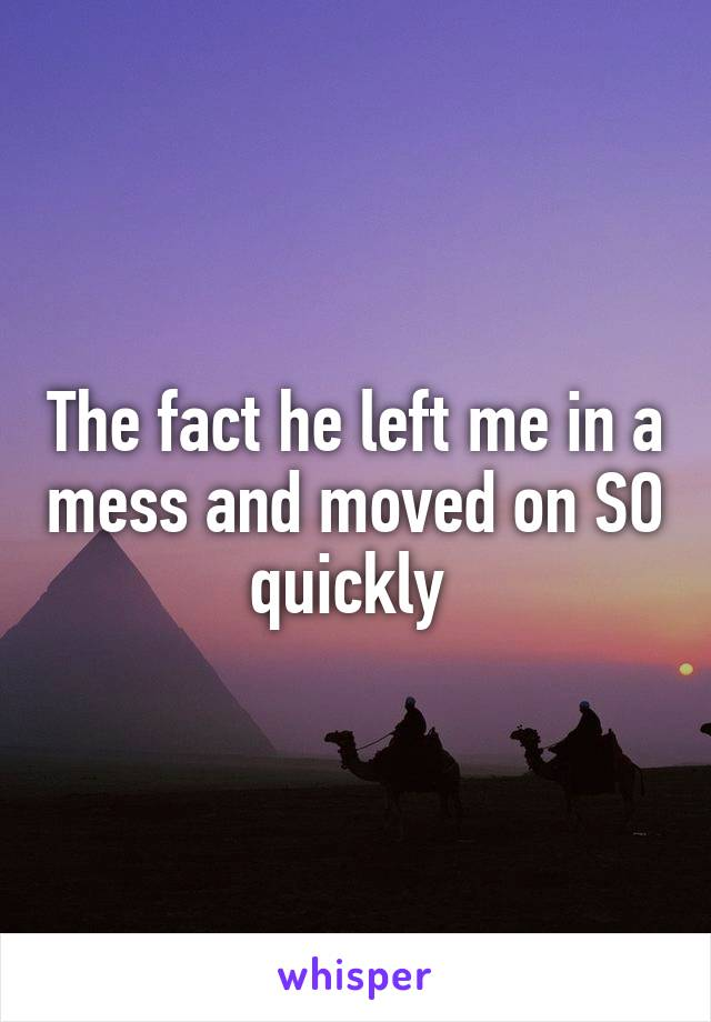 The fact he left me in a mess and moved on SO quickly