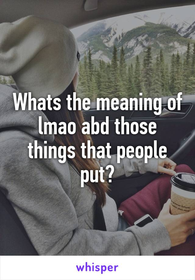 Whats the meaning of lmao abd those things that people put?