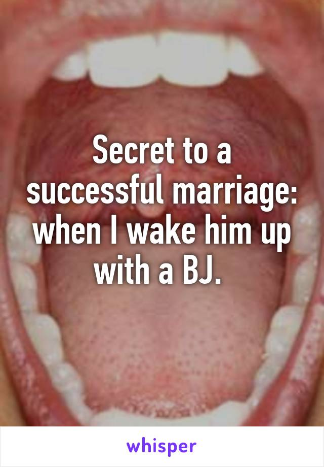 Secret to a successful marriage: when I wake him up with a BJ.