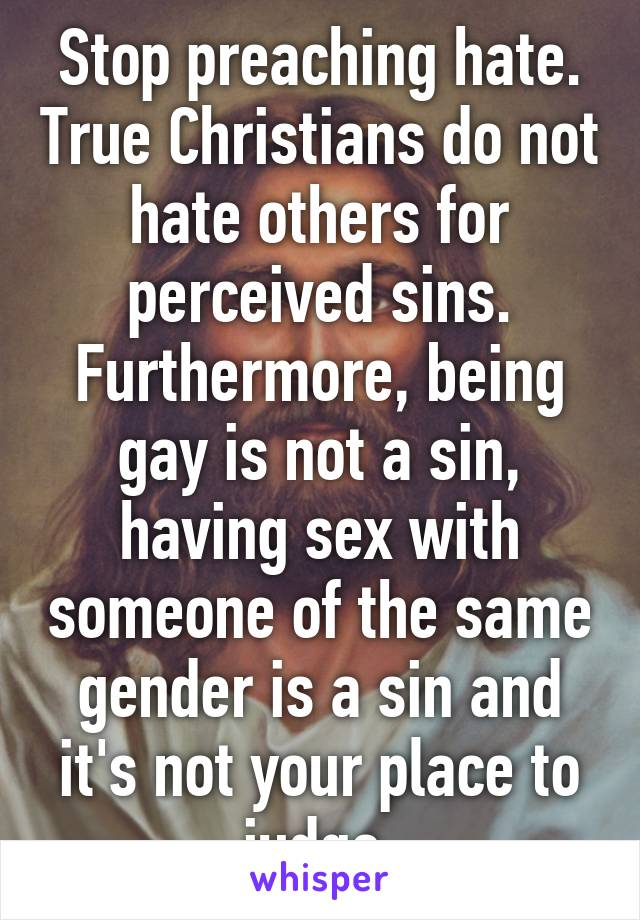 Stop being gay christian