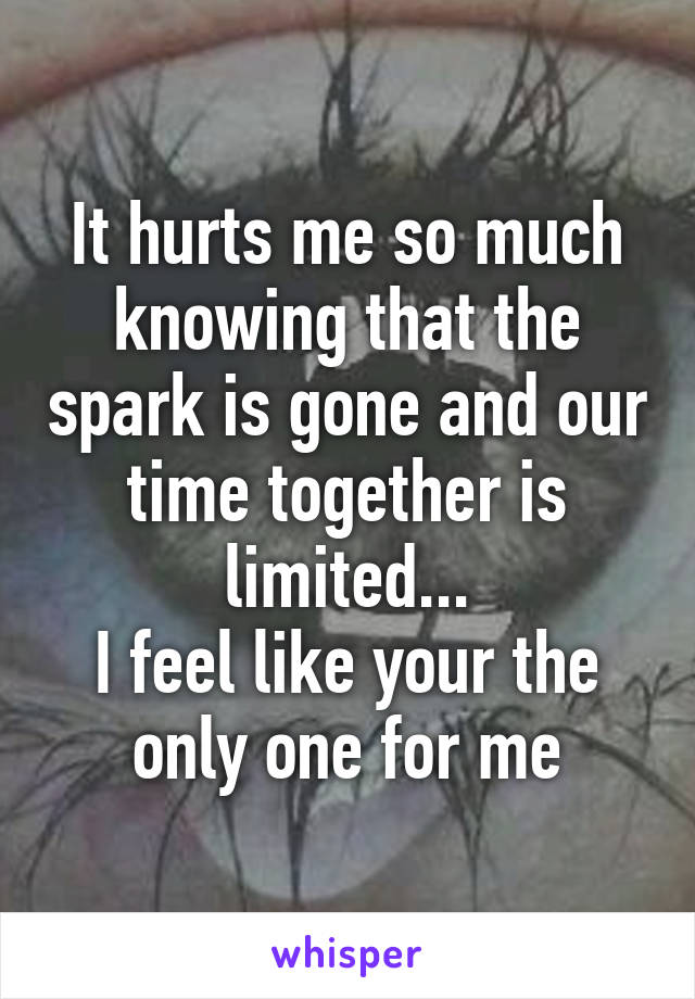 It Hurts Me So Much Knowing That The Spark Is Gone And Our Time Together