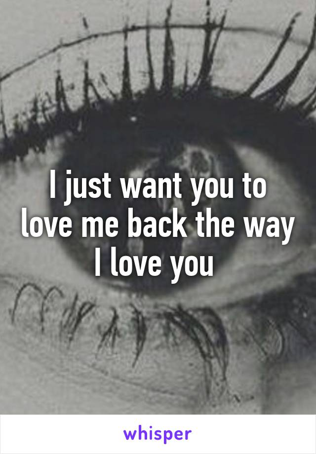 I Just Want You To Love Me Back