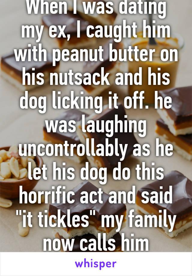 dog licking peanut butter off balls