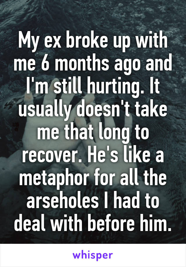 My ex broke up with me 6 months ago and I'm still hurting. It usually doesn't take me that long to recover. He's like a metaphor for all the arseholes I had to deal with before him.