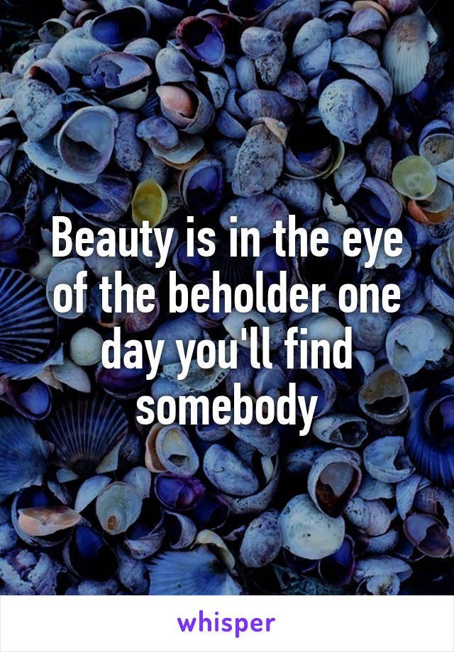Beauty is in the eye of the beholder one day you'll find somebody