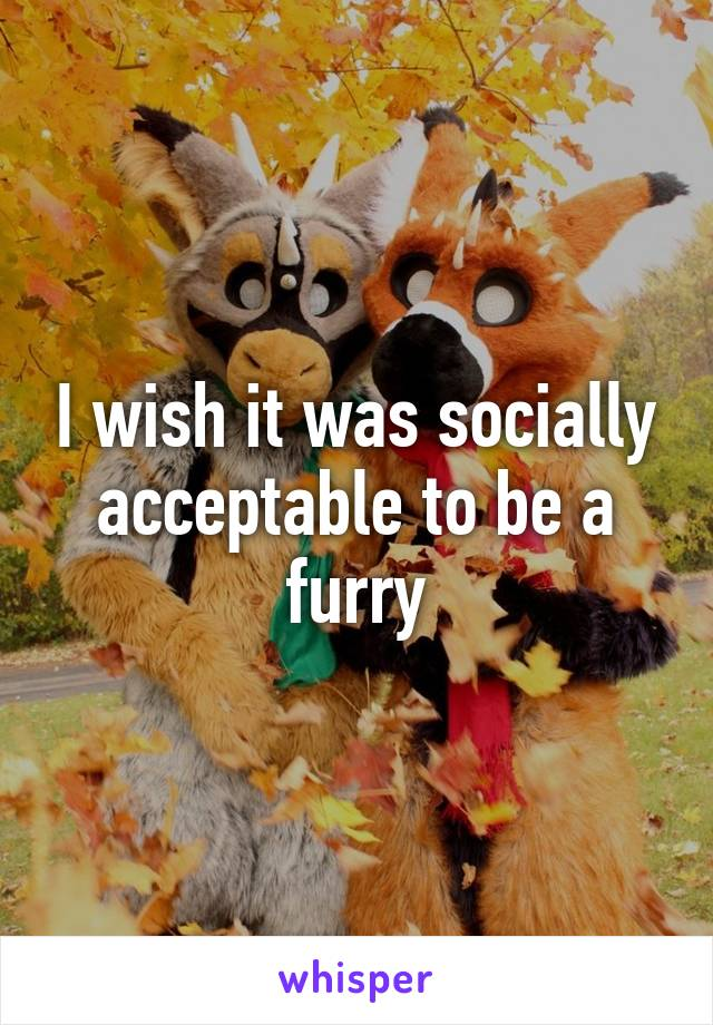 I wish it was socially acceptable to be a furry