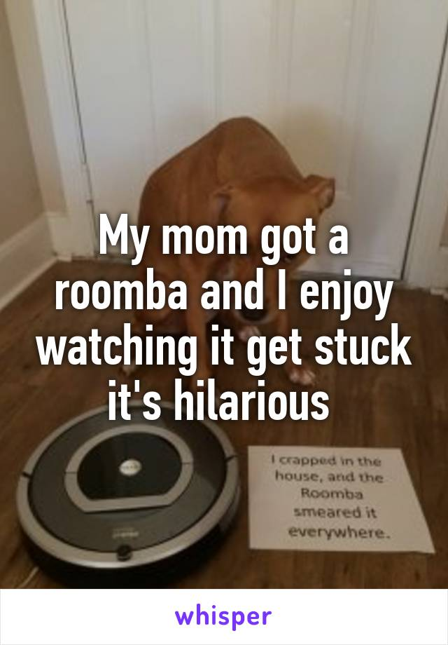 My mom got a roomba and I enjoy watching it get stuck it's hilarious