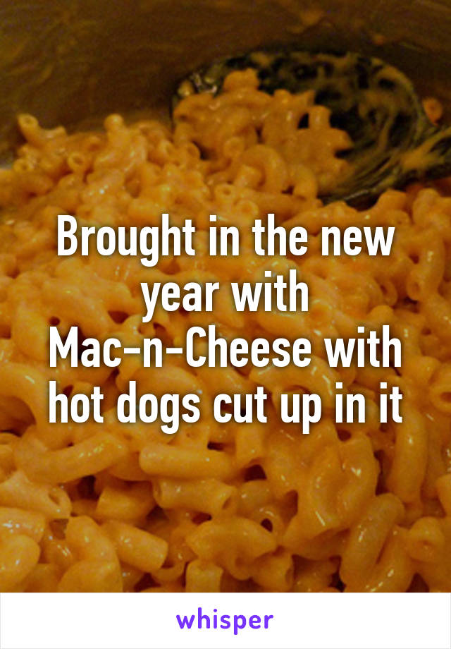 Brought in the new year with Mac-n-Cheese with hot dogs cut up in it