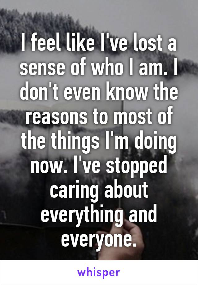 I feel like I've lost a sense of who I am. I don't even know the reasons to most of the things I'm doing now. I've stopped caring about everything and everyone.