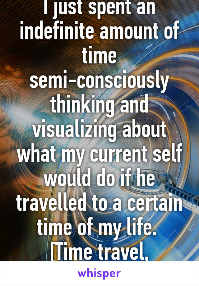 I just spent an indefinite amount of time semi-consciously thinking and visualizing about what my current self would do if he travelled to a certain time of my life.  [Time travel, basically]