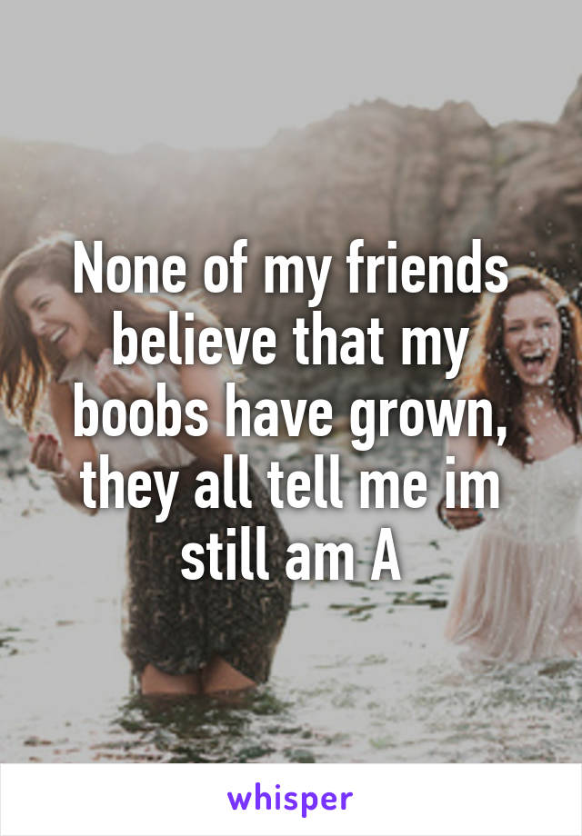 None of my friends believe that my boobs have grown, they all tell me im still am A