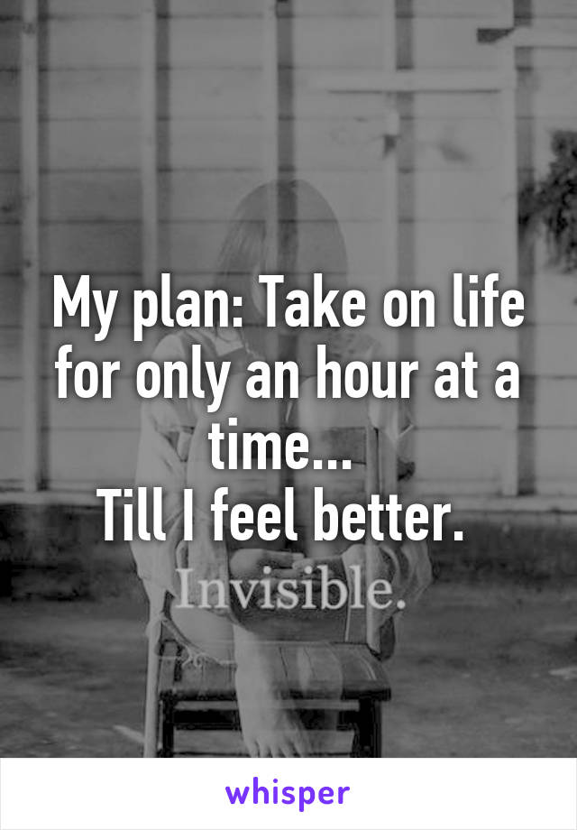 My plan: Take on life for only an hour at a time...  Till I feel better.
