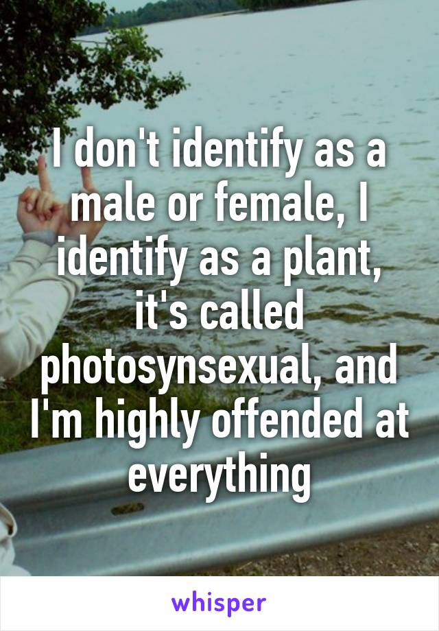 I don't identify as a male or female, I identify as a plant, it's called photosynsexual, and I'm highly offended at everything