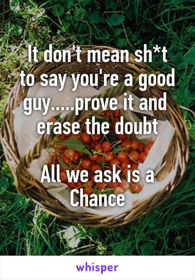 It don't mean sh*t to say you're a good guy.....prove it and  erase the doubt  All we ask is a Chance