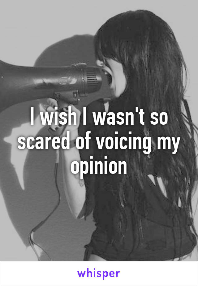 I wish I wasn't so scared of voicing my opinion