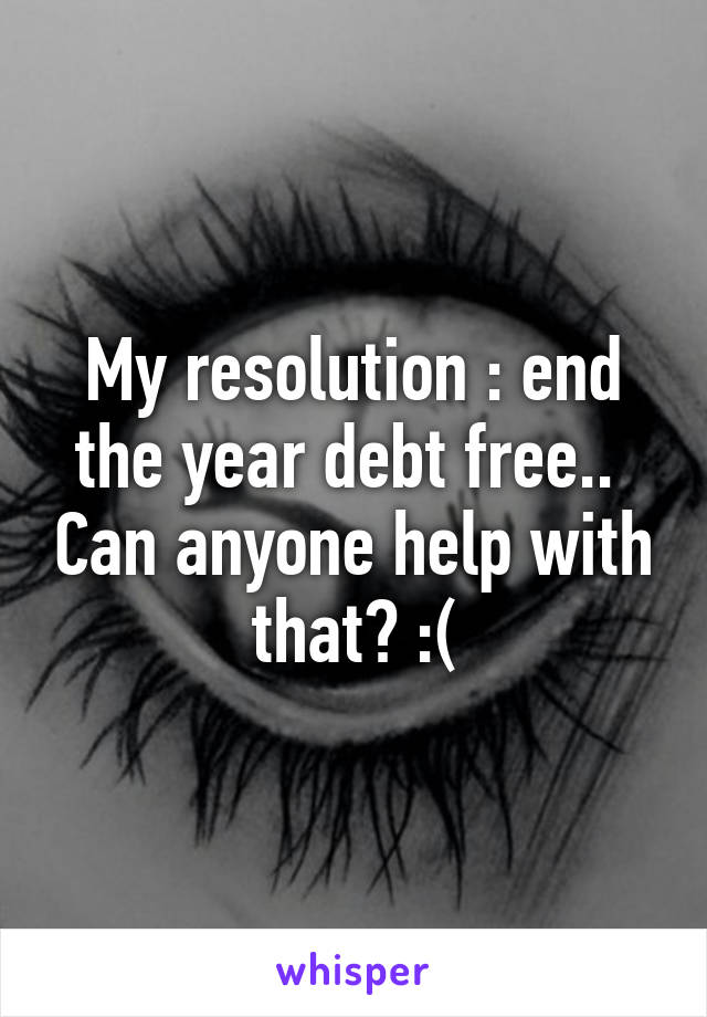 My resolution : end the year debt free..  Can anyone help with that? :(