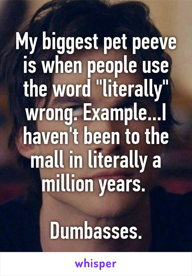 """My biggest pet peeve is when people use the word """"literally"""" wrong. Example...I haven't been to the mall in literally a million years.   Dumbasses."""