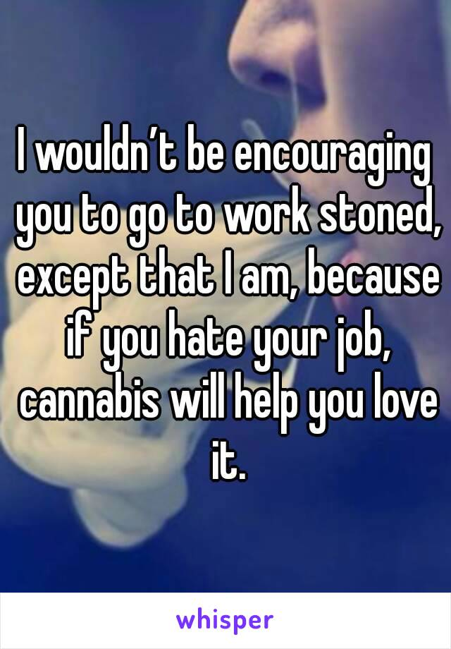 I wouldn't be encouraging you to go to work stoned, except that I am, because if you hate your job, cannabis will help you love it.