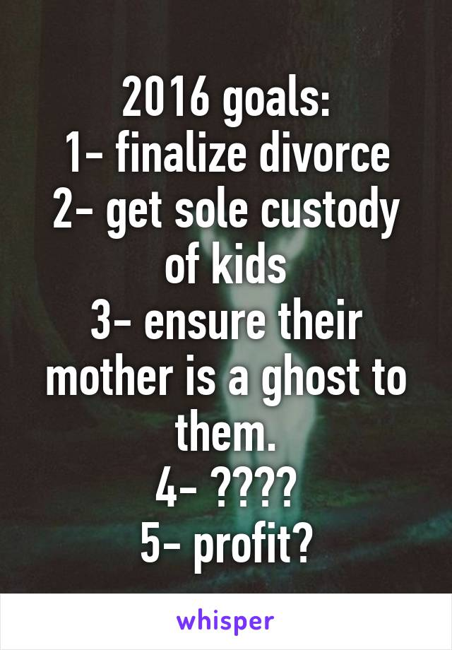 2016 goals: 1- finalize divorce 2- get sole custody of kids 3- ensure their mother is a ghost to them. 4- ???? 5- profit?
