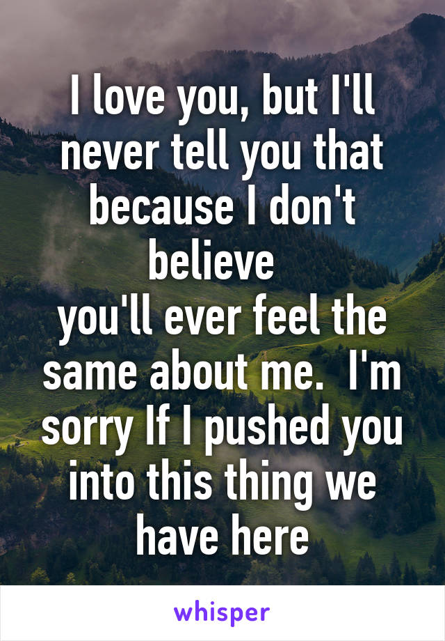 I love you, but I'll never tell you that because I don't believe   you'll ever feel the same about me.  I'm sorry If I pushed you into this thing we have here