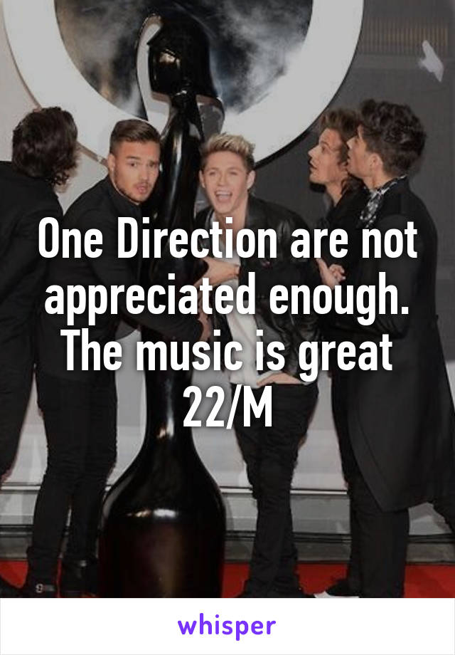 One Direction are not appreciated enough. The music is great 22/M