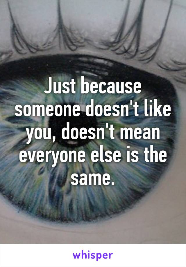 Just because someone doesn't like you, doesn't mean everyone else is the same.