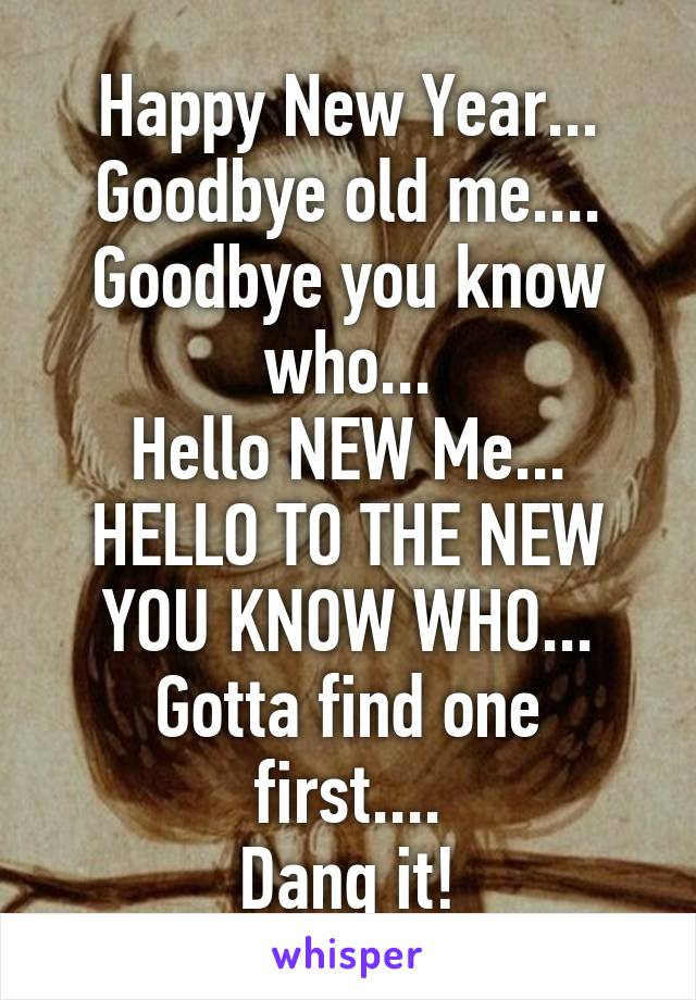 Happy New Year... Goodbye old me.... Goodbye you know who... Hello NEW Me... HELLO TO THE NEW YOU KNOW WHO... Gotta find one first.... Dang it!