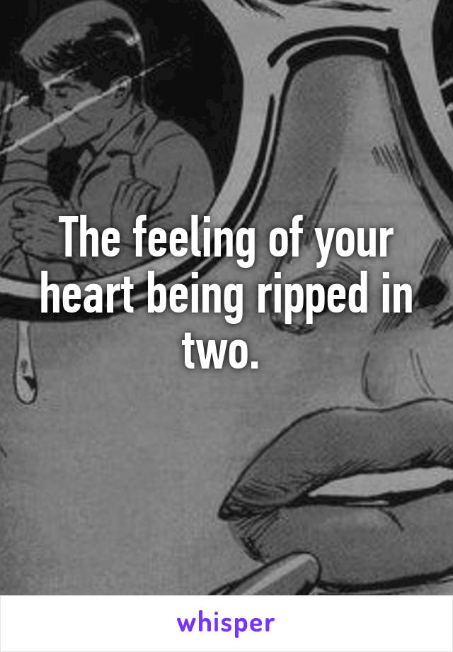 The feeling of your heart being ripped in two.
