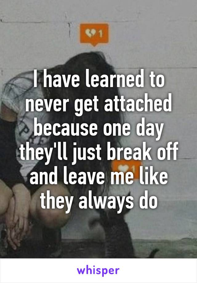 I have learned to never get attached because one day they'll just break off and leave me like they always do