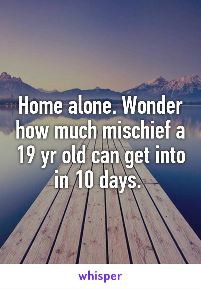 Home alone. Wonder how much mischief a 19 yr old can get into in 10 days.