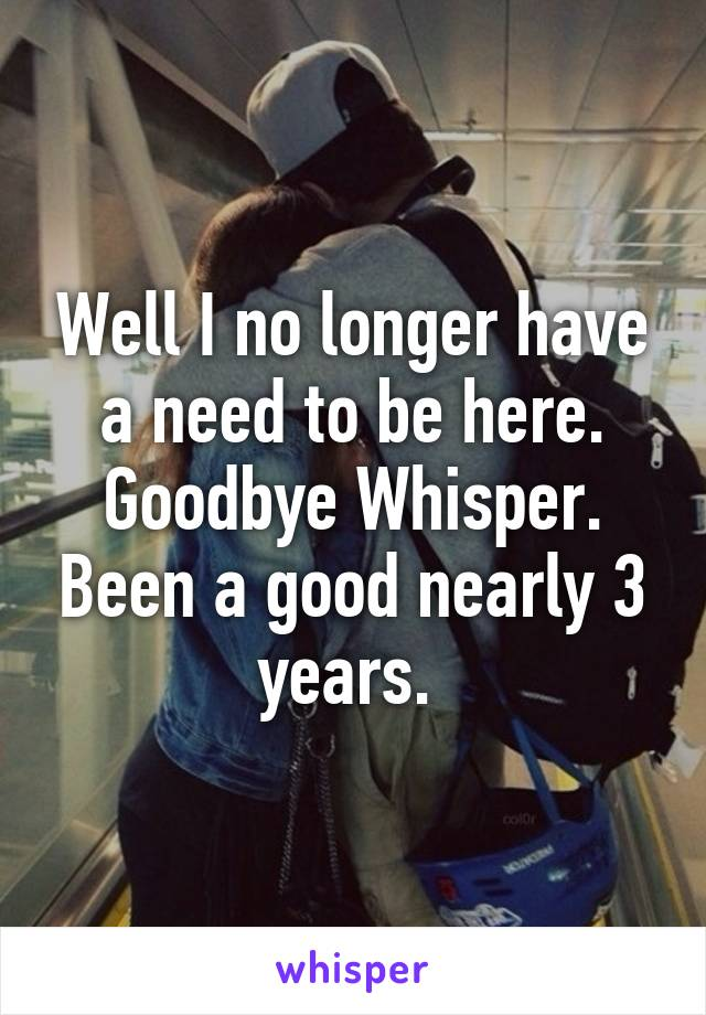 Well I no longer have a need to be here. Goodbye Whisper. Been a good nearly 3 years.