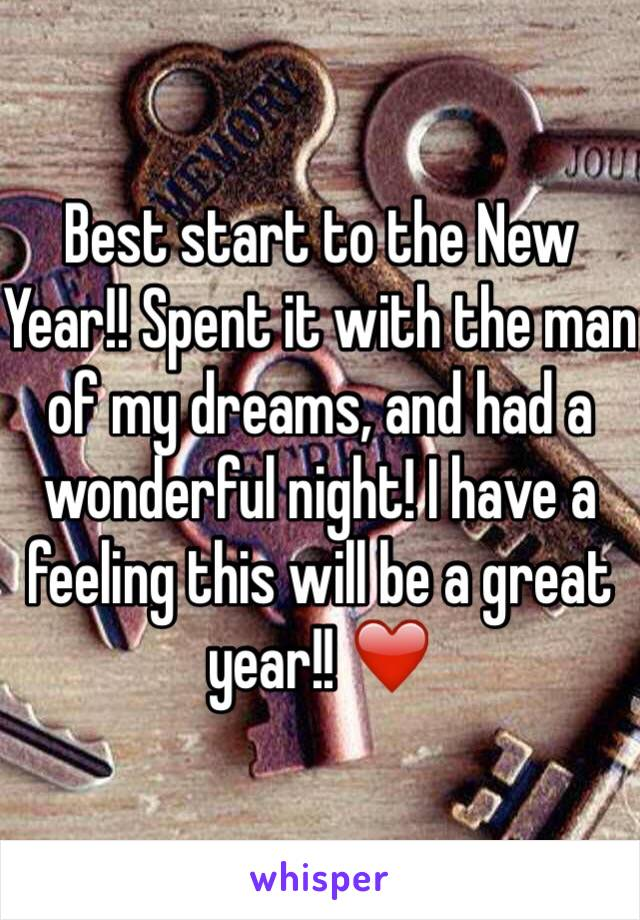 Best start to the New Year!! Spent it with the man of my dreams, and had a wonderful night! I have a feeling this will be a great year!! ❤️