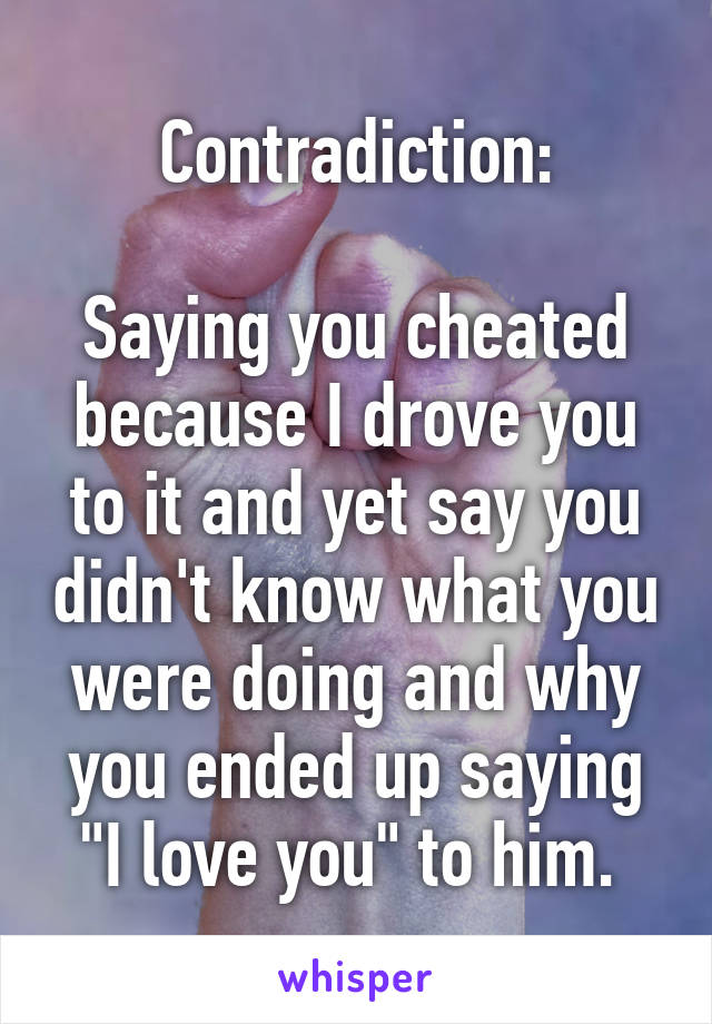 "Contradiction:  Saying you cheated because I drove you to it and yet say you didn't know what you were doing and why you ended up saying ""I love you"" to him."