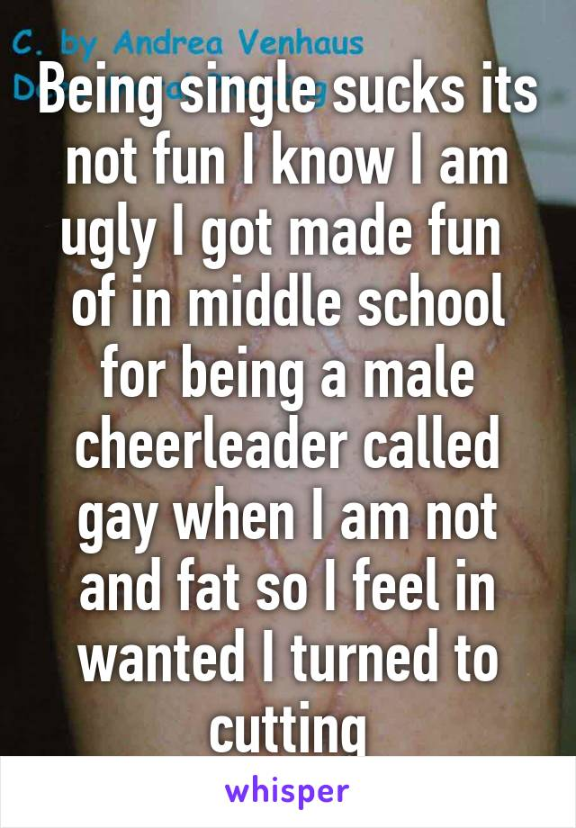 Being single sucks its not fun I know I am ugly I got made fun  of in middle school for being a male cheerleader called gay when I am not and fat so I feel in wanted I turned to cutting