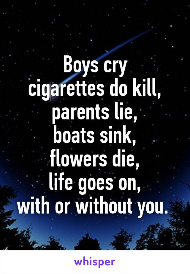 Boys cry cigarettes do kill, parents lie, boats sink, flowers die, life goes on, with or without you.