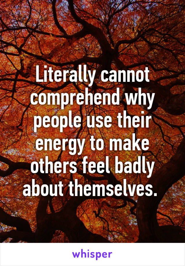 Literally cannot comprehend why people use their energy to make others feel badly about themselves.