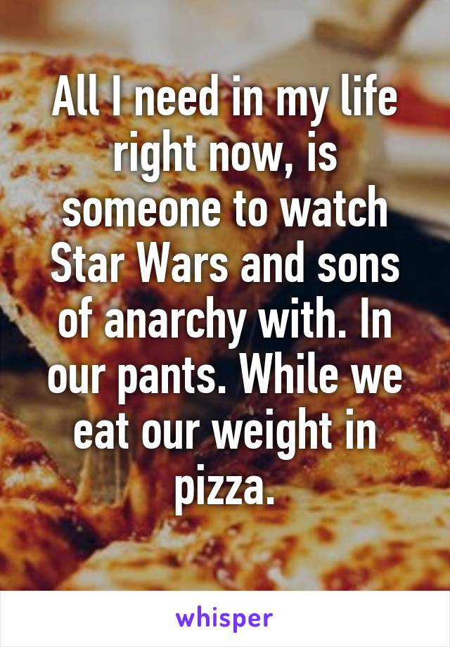 All I need in my life right now, is someone to watch Star Wars and sons of anarchy with. In our pants. While we eat our weight in pizza.