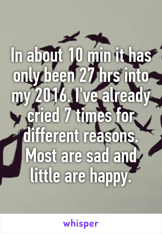 In about 10 min it has only been 27 hrs into my 2016. I've already cried 7 times for different reasons. Most are sad and little are happy.