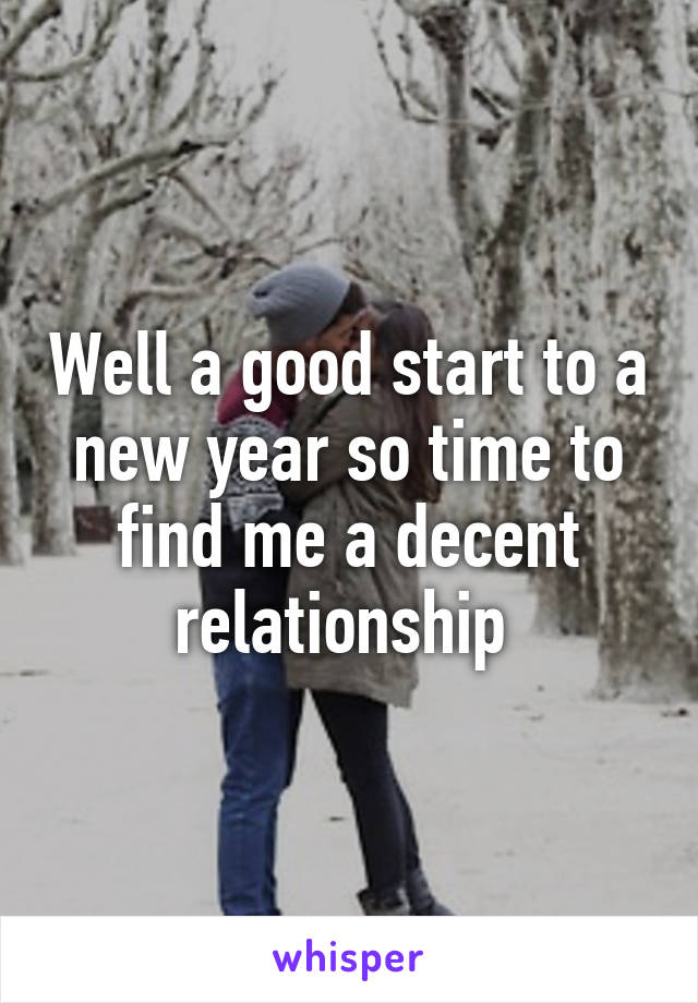 Well a good start to a new year so time to find me a decent relationship