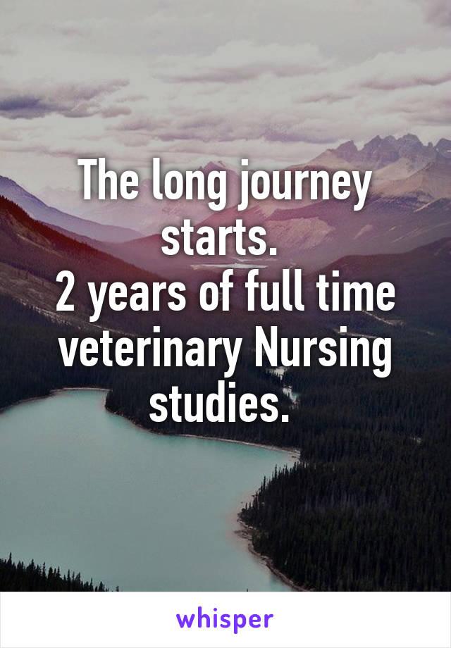 The long journey starts.  2 years of full time veterinary Nursing studies.