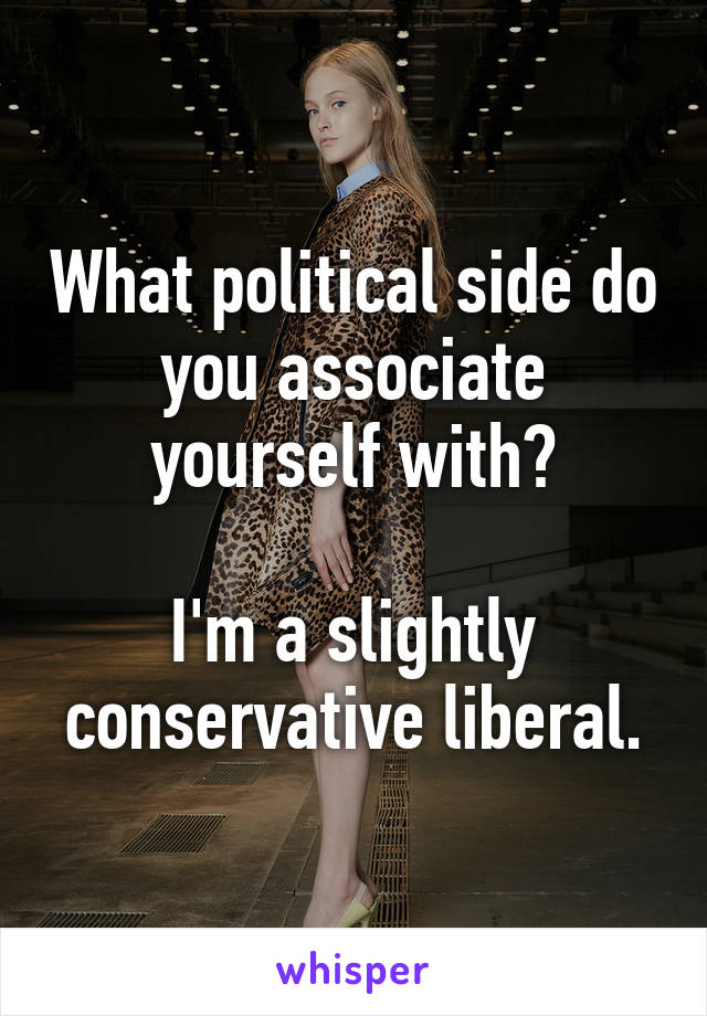 What political side do you associate yourself with?  I'm a slightly conservative liberal.