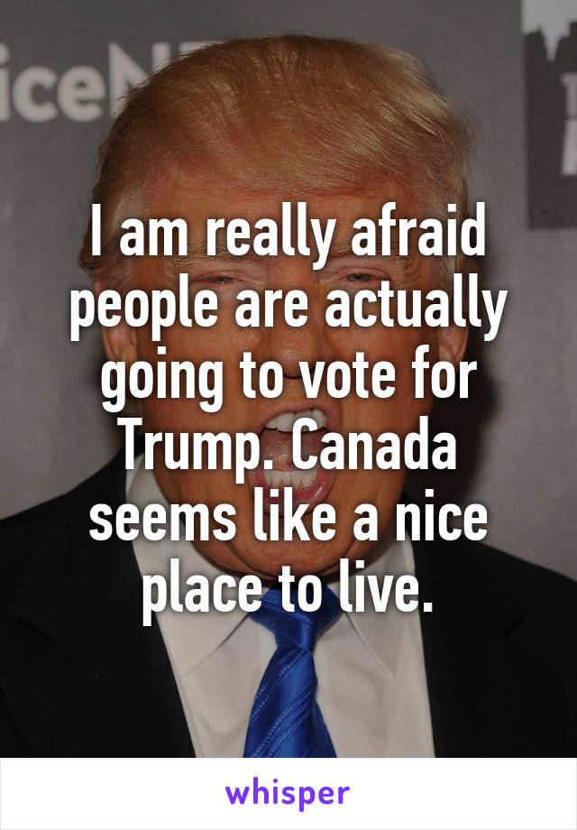 I am really afraid people are actually going to vote for Trump. Canada seems like a nice place to live.