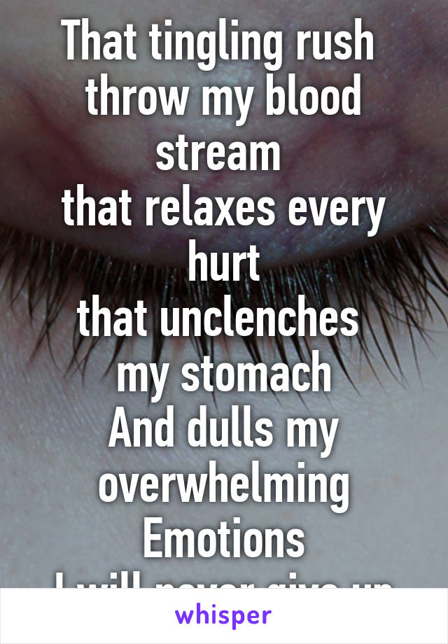 That tingling rush  throw my blood stream  that relaxes every hurt that unclenches  my stomach And dulls my overwhelming Emotions I will never give up