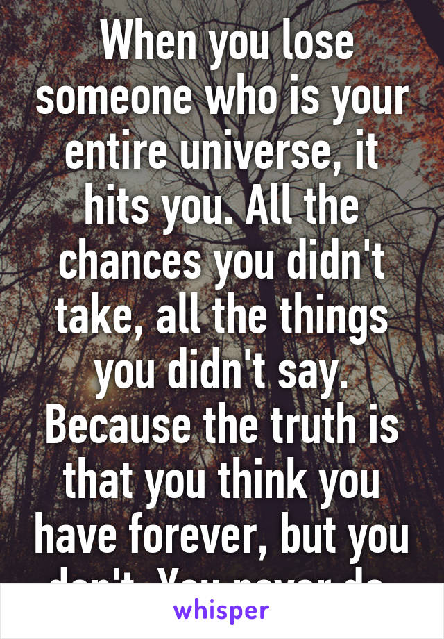 When you lose someone who is your entire universe, it hits you. All the chances you didn't take, all the things you didn't say. Because the truth is that you think you have forever, but you don't. You never do.