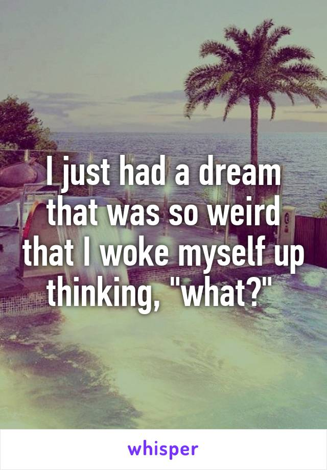 "I just had a dream that was so weird that I woke myself up thinking, ""what?"""